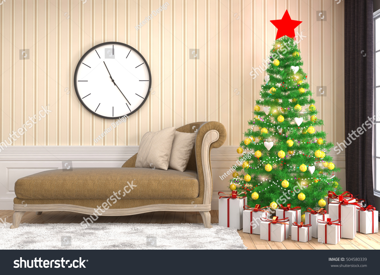 Christmas Tree Decorations Living Room 3d Stock Illustration 504580339 Shutterstock