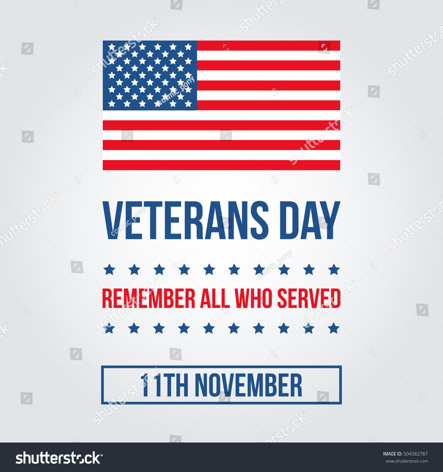 veterans day card american flag template stock vector 504582787