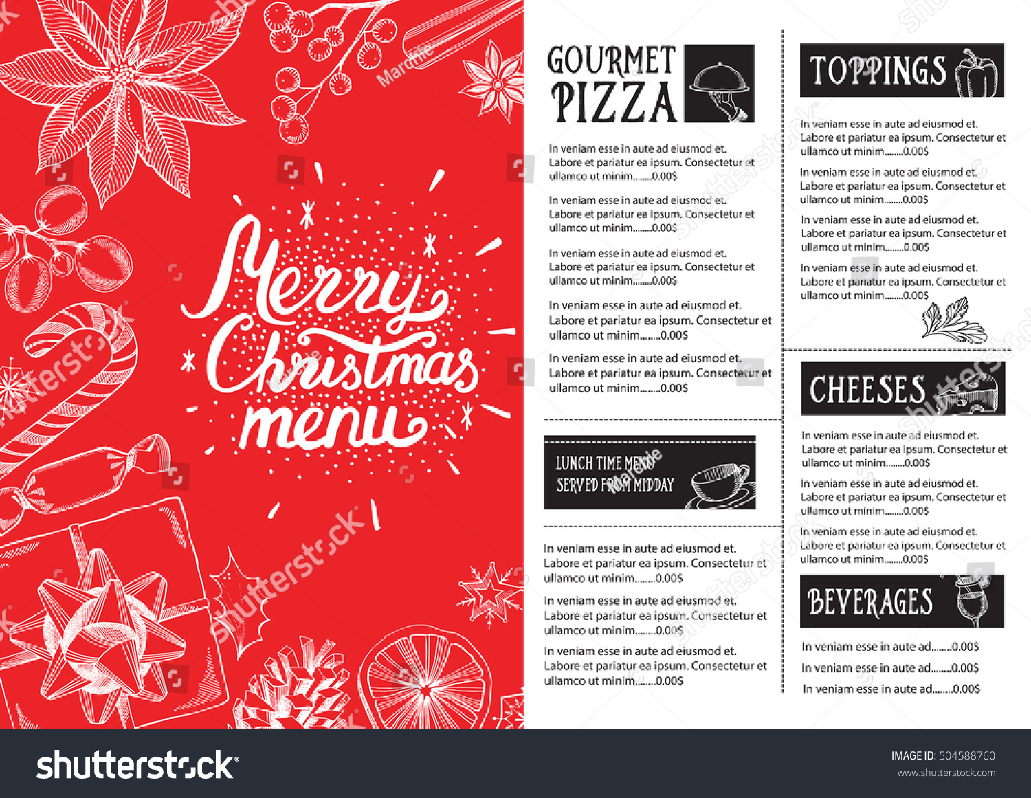 Christmas restaurant brochure menu template vector stock