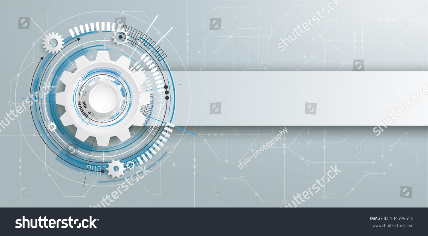 Futuristic Gear Wheel Electronic Schematic Banner Stock Vector Photos With And On The Gray Background Eps 10