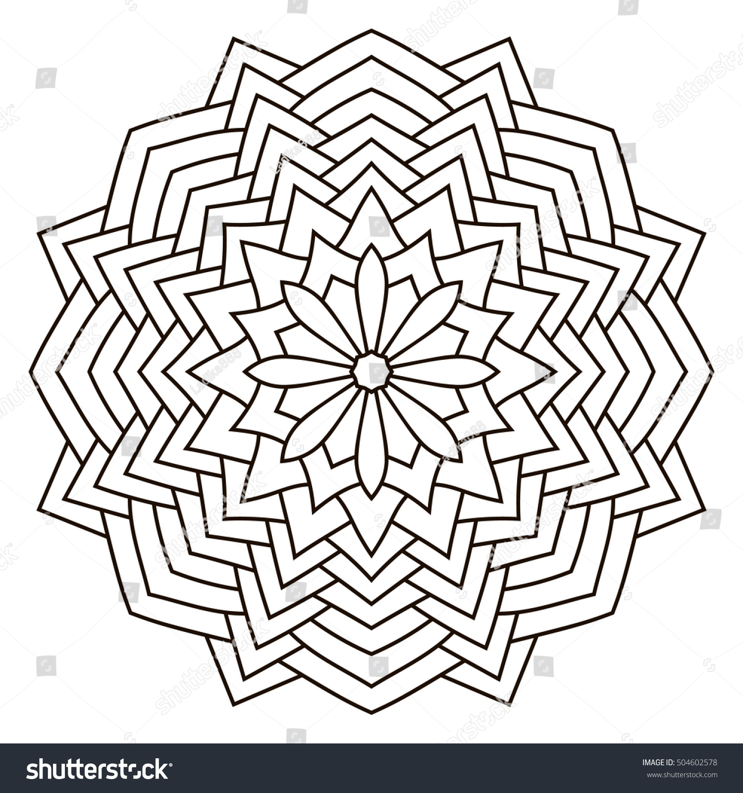 Round Outline Mandala Coloring Book Vintage Stock Vector (Royalty ...