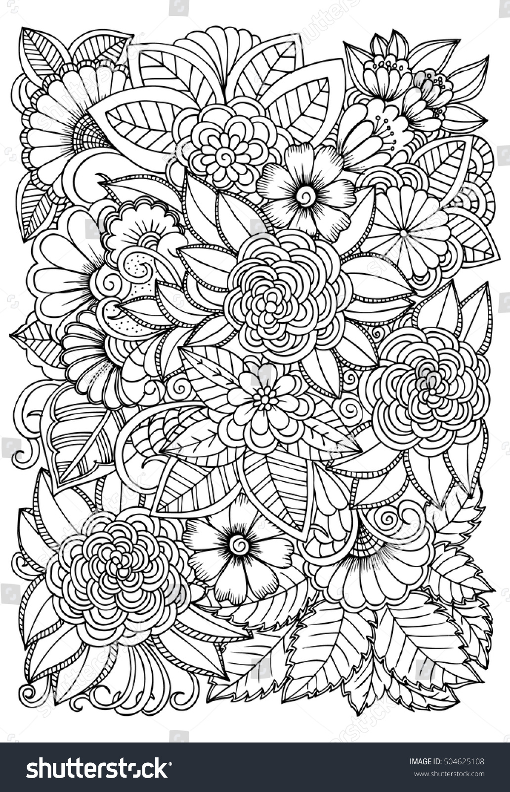 black white flower pattern coloring doodle stock vector 504625108