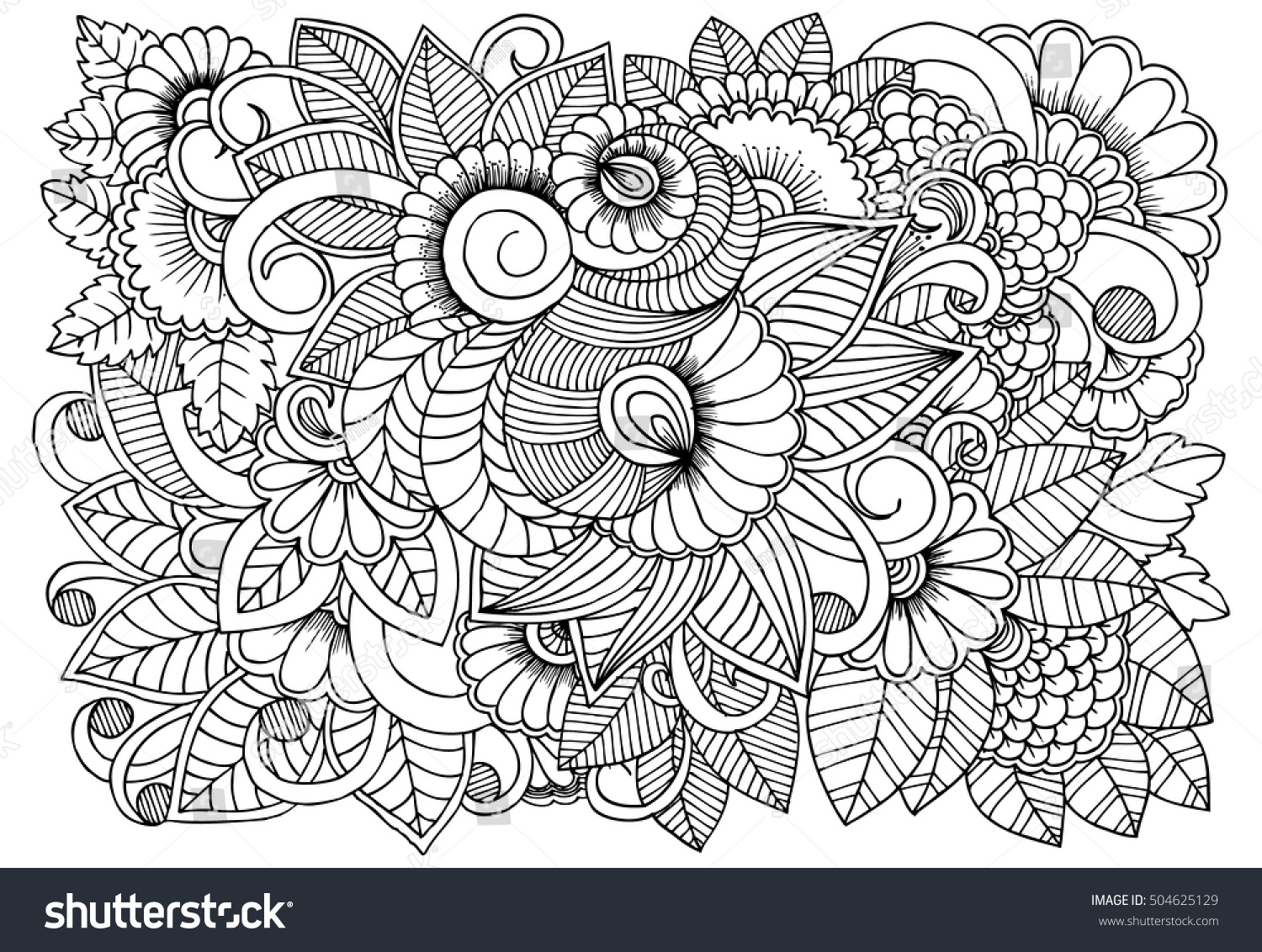 black white flower pattern coloring doodle stock vector 504625129