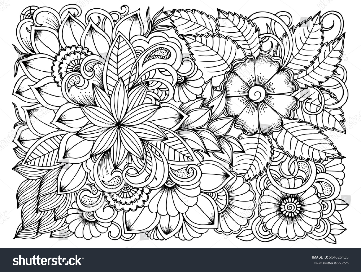 Black And White Flower Pattern For Coloring Doodle Floral Drawing