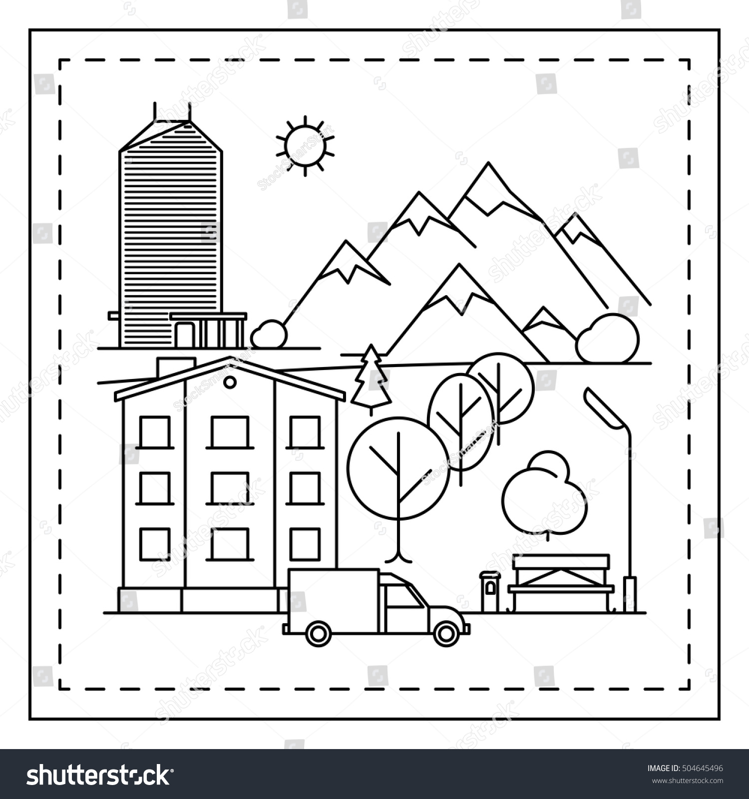 Coloring Page Kids City Landscape Houses Stock Vector 504645496 ...