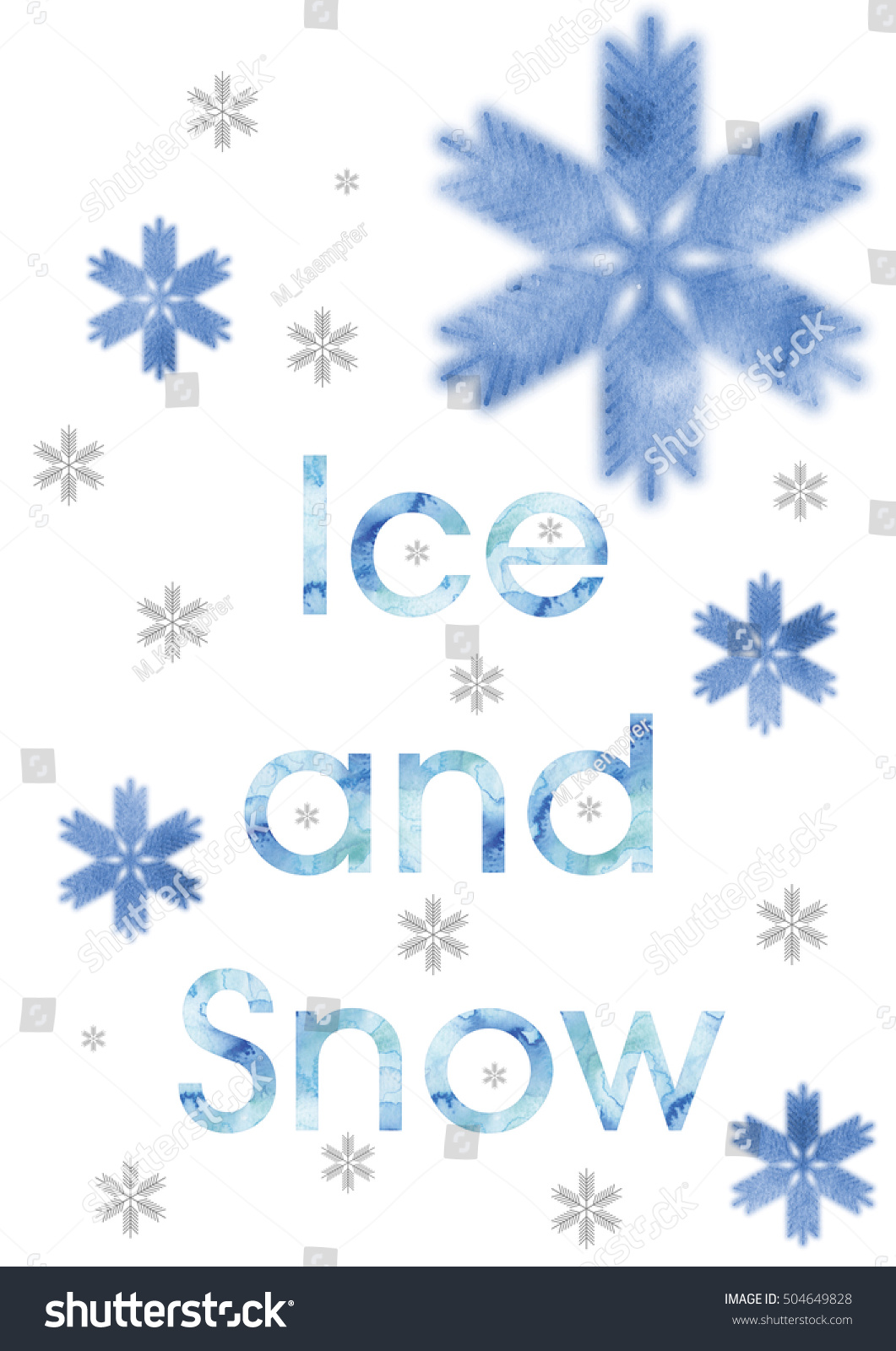 Abstract Snowflakes Front White Background Symbol Stock Illustration
