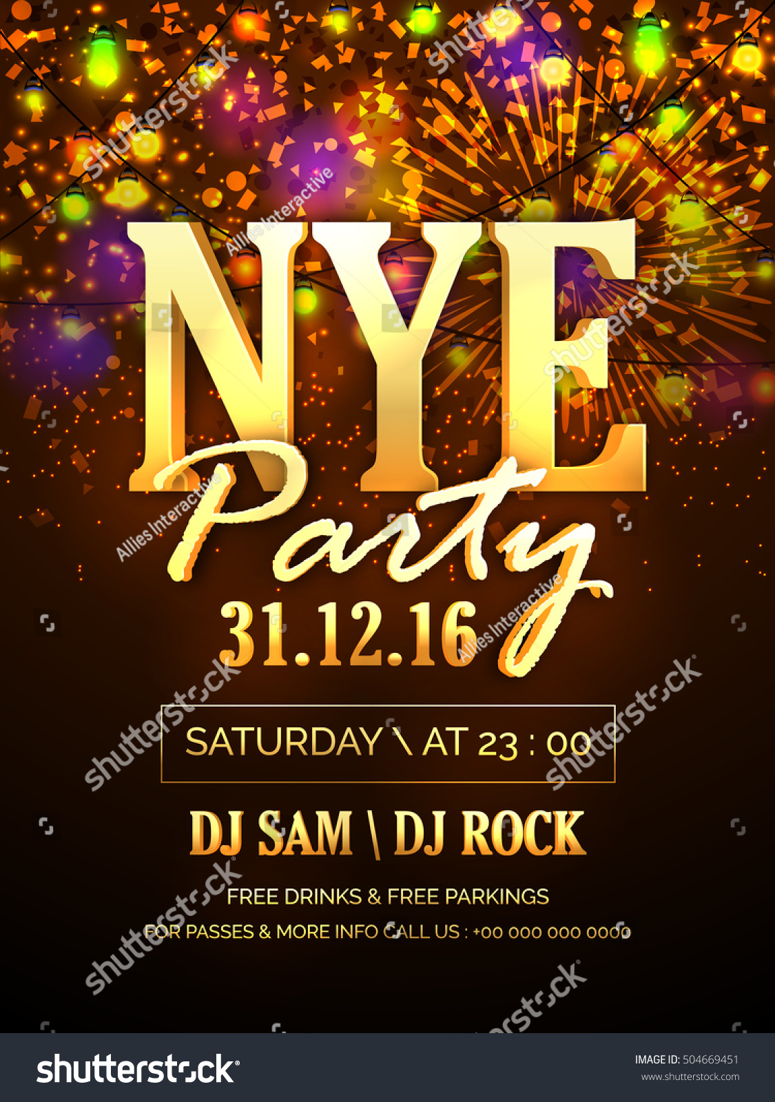 elegant glossy flyer banner pamphlet or invitation card for new years eve party celebration