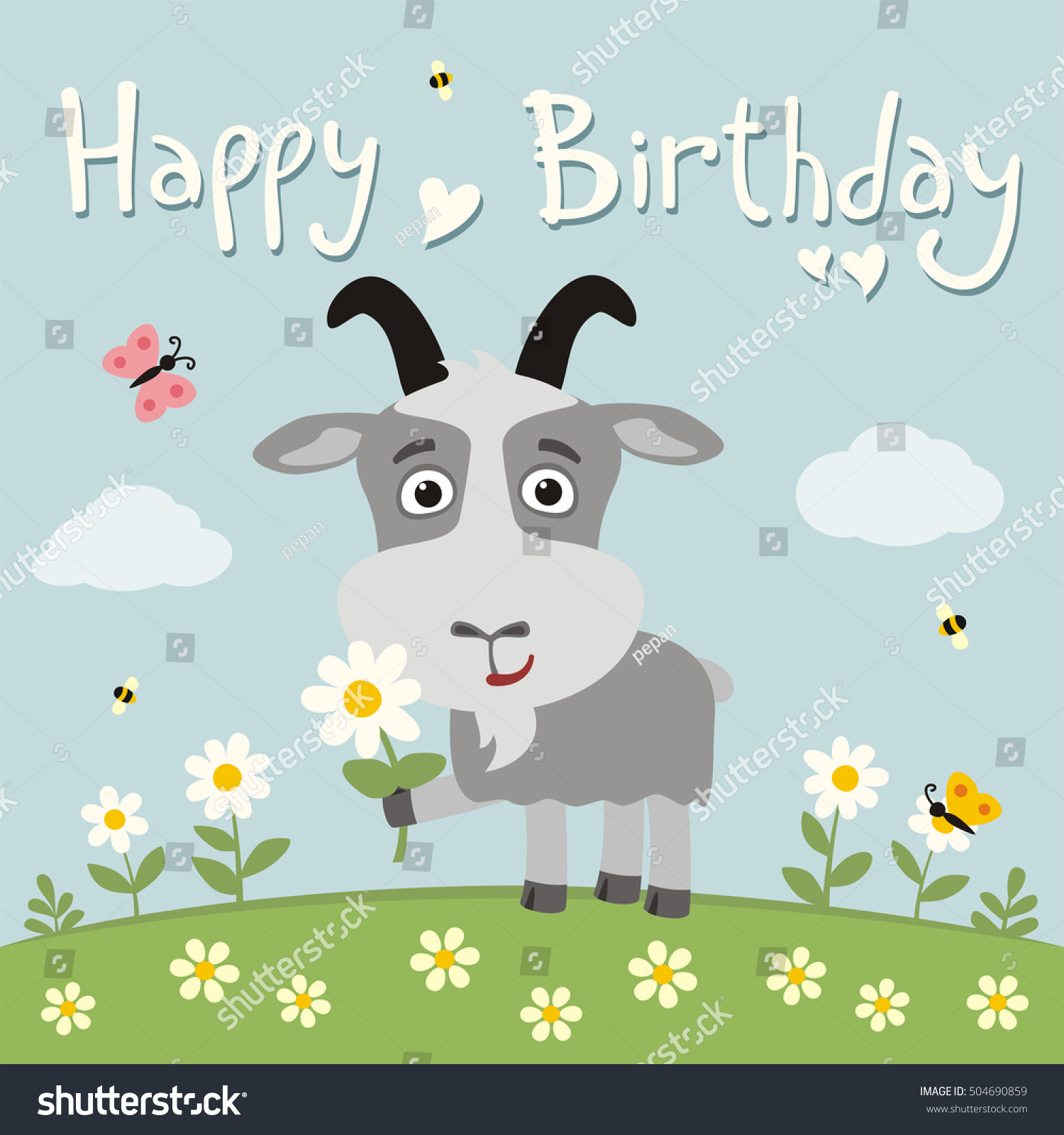 Happy birthday! Funny goat with chamomile on flower meadow. Card in cartoon style.