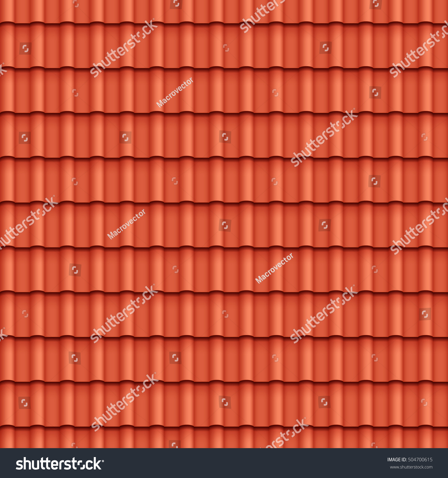Roof Tile Seamless Pattern House Covering Stock Vector
