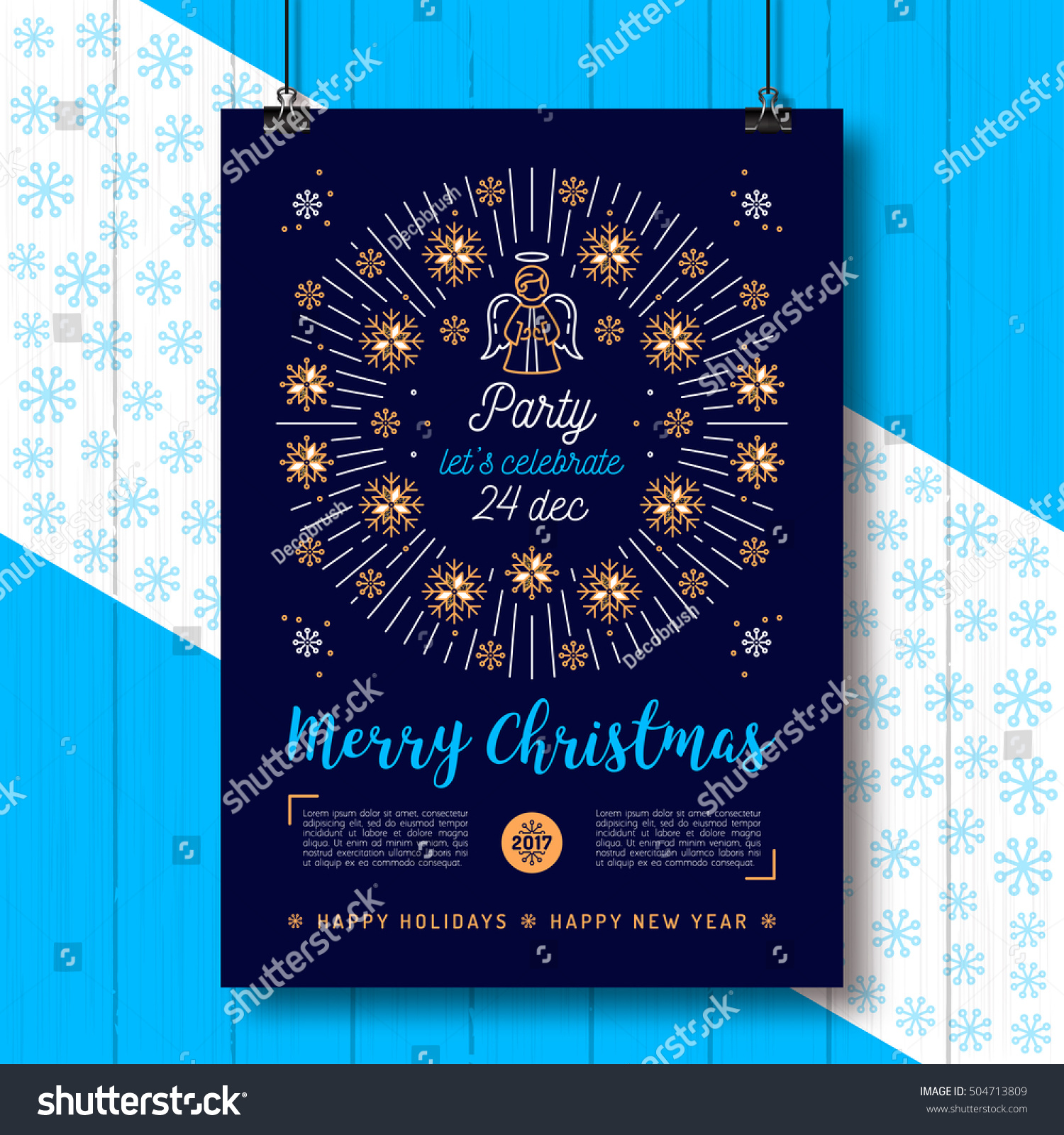 Christmas Poster Holiday Xmas Party Flyer Stock Vector Royalty Free