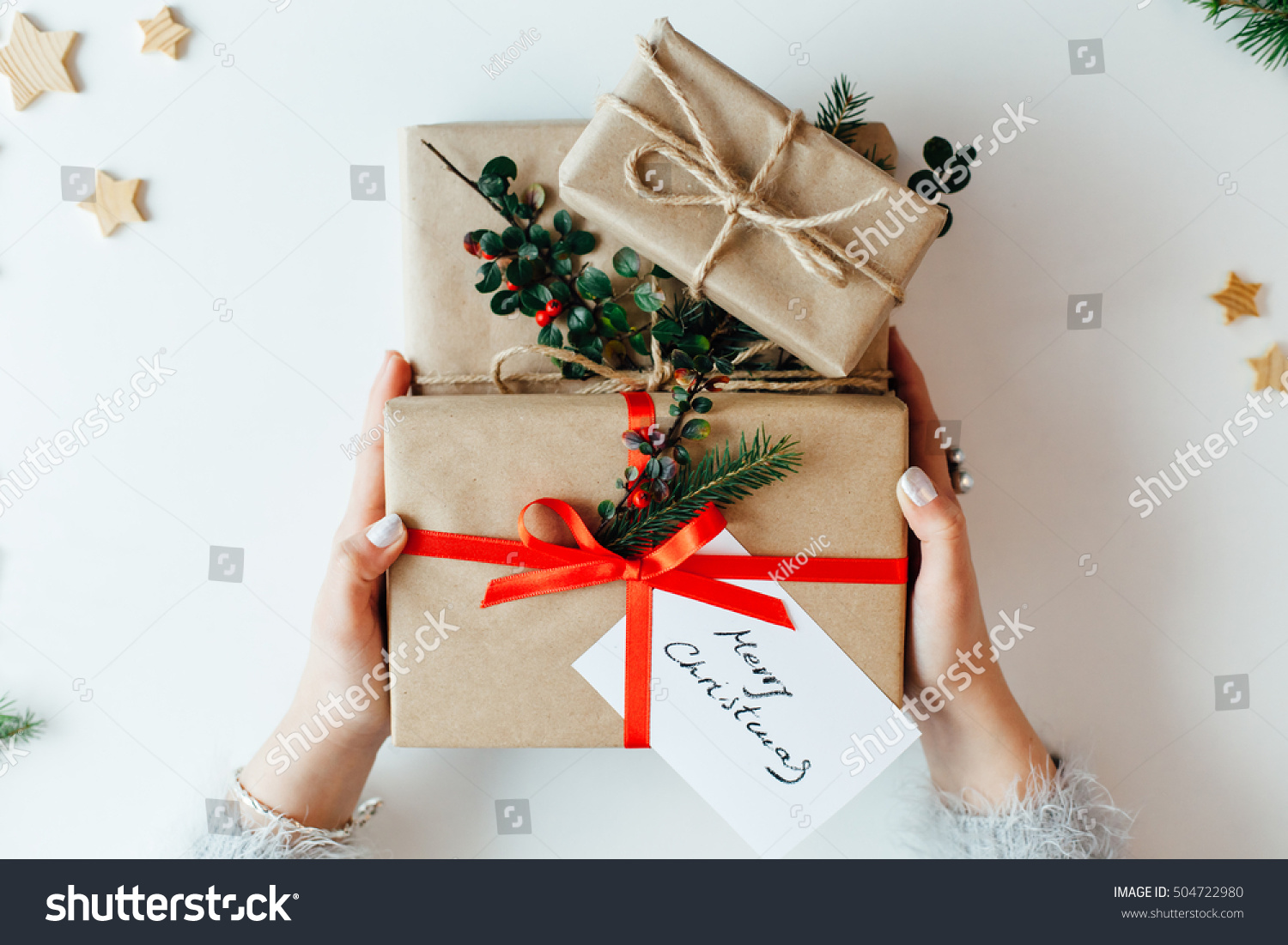 Woman Holding Christmas Gifts Presents Stock Photo (Edit Now ...