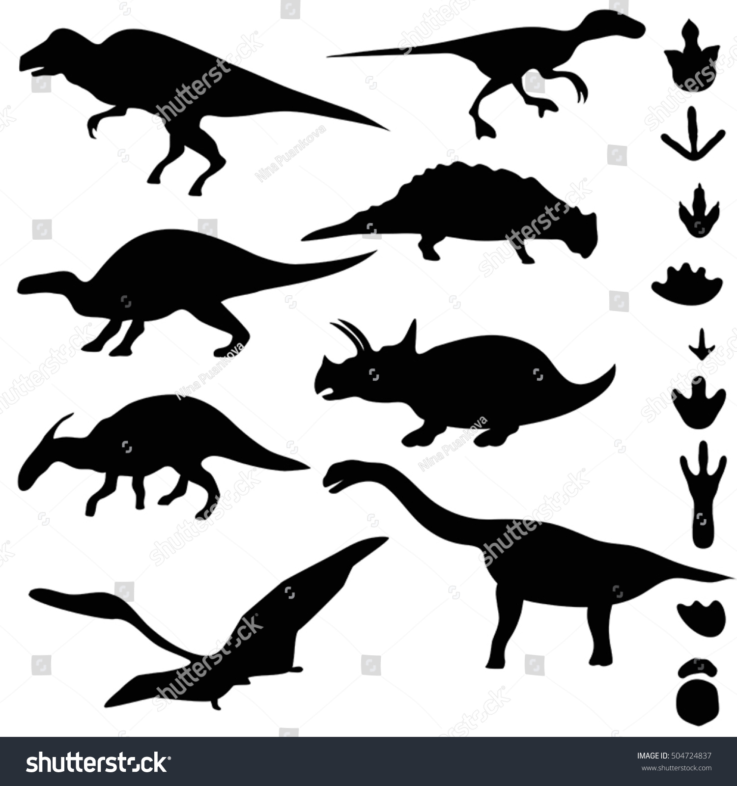 Symbols Of Dinosaurs And Dinosaur Footprints Collection Silhouettes