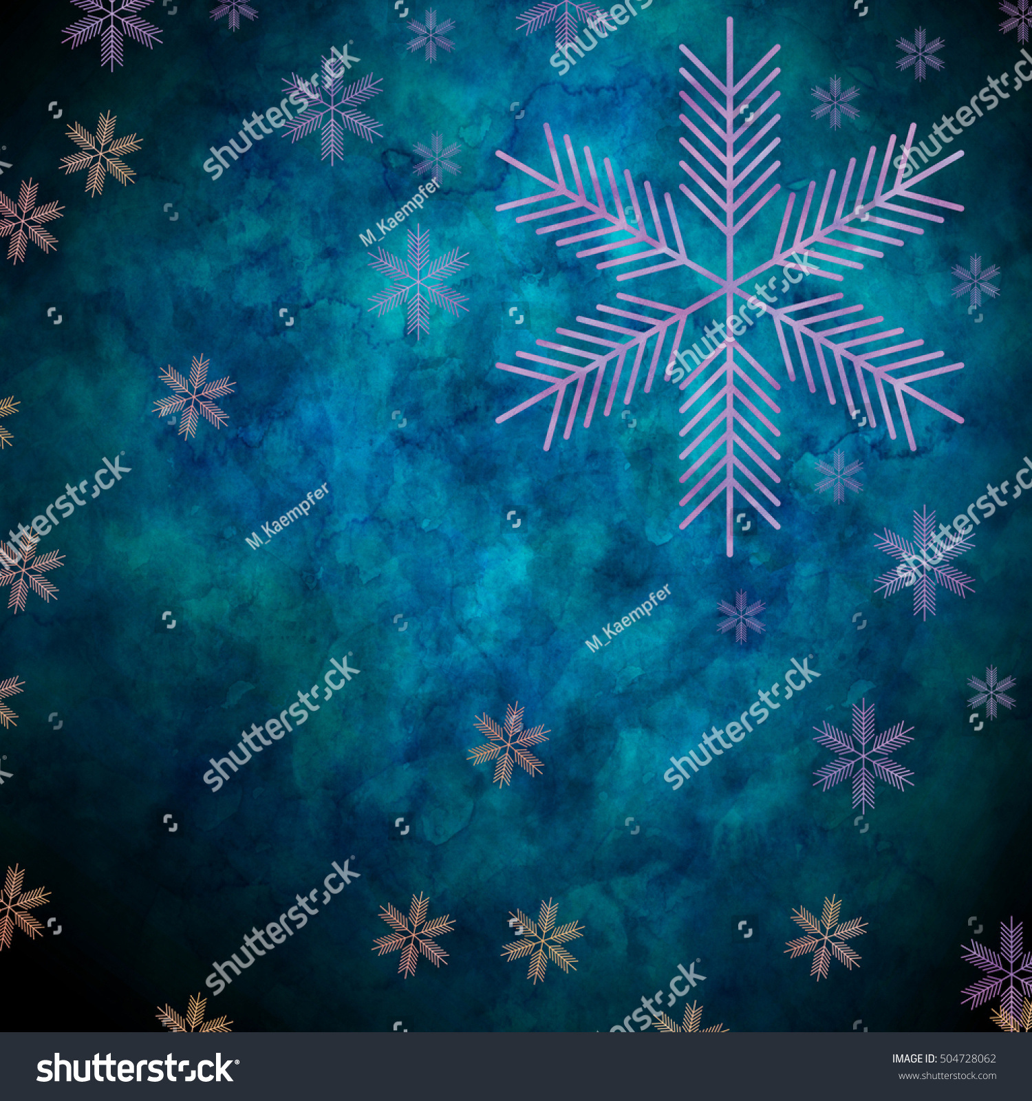 Abstract Snowflakes Front Blue Background Symbol Stock Illustration