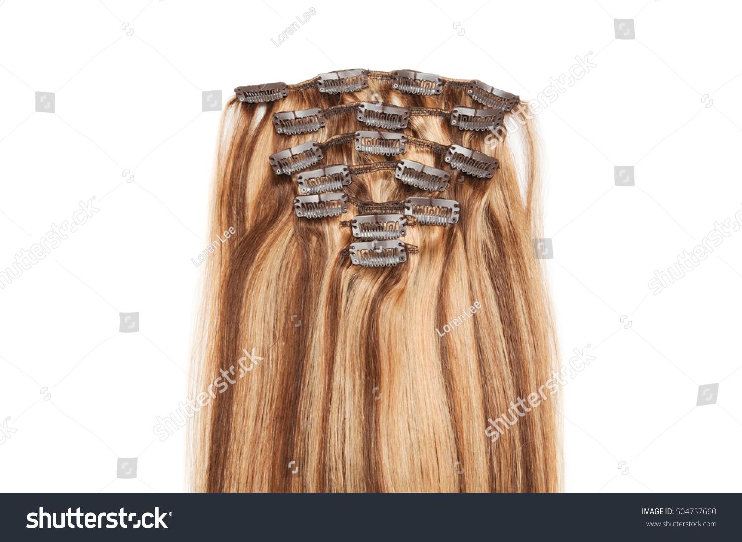 Clip Straight Medium Brown Hair Mix Stock Photo Edit Now 504757660