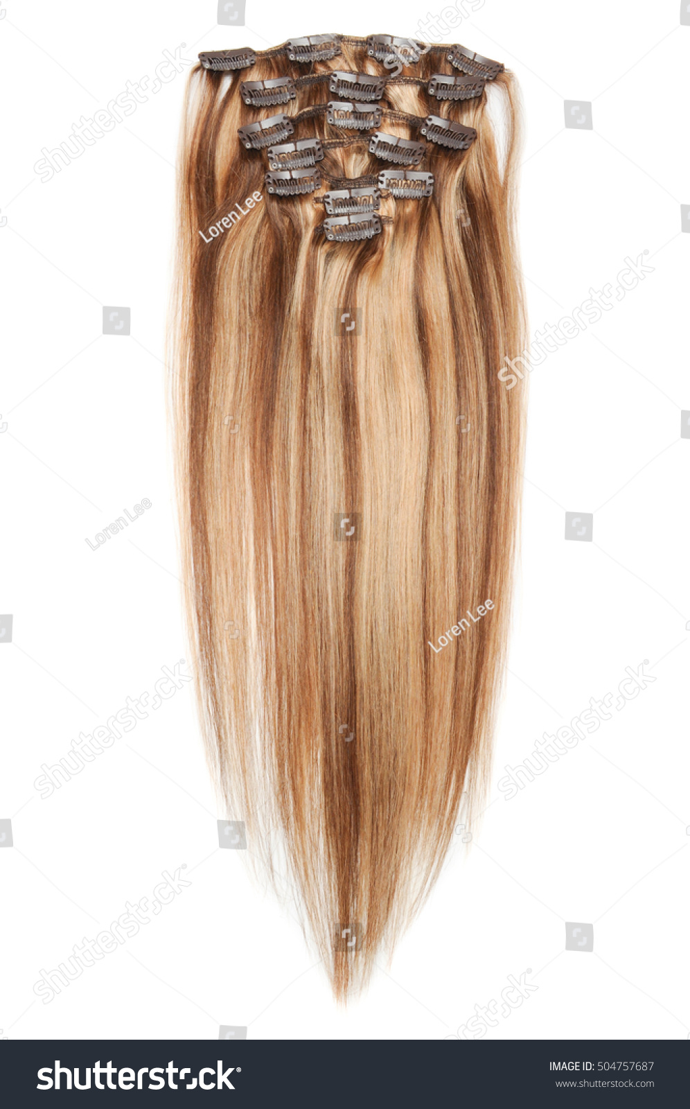 Clip Straight Medium Brown Hair Golden Stock Photo Edit Now