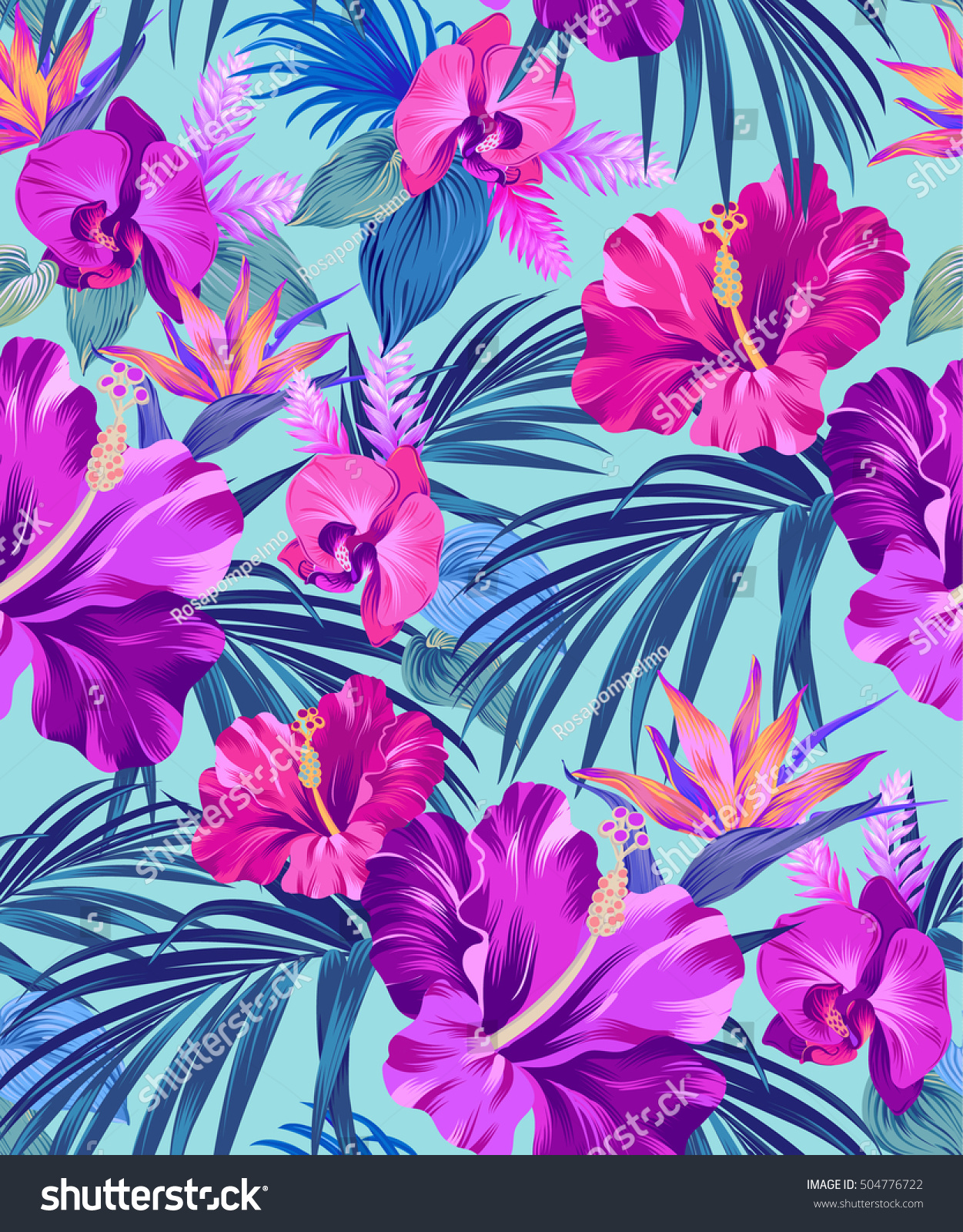 vector exotic floral pattern on black stock vector