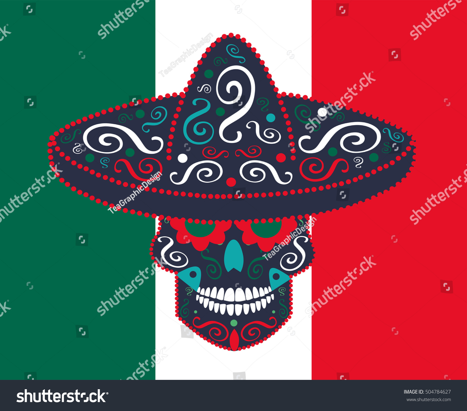day dead skull mexican flag vector stock vector 504784627