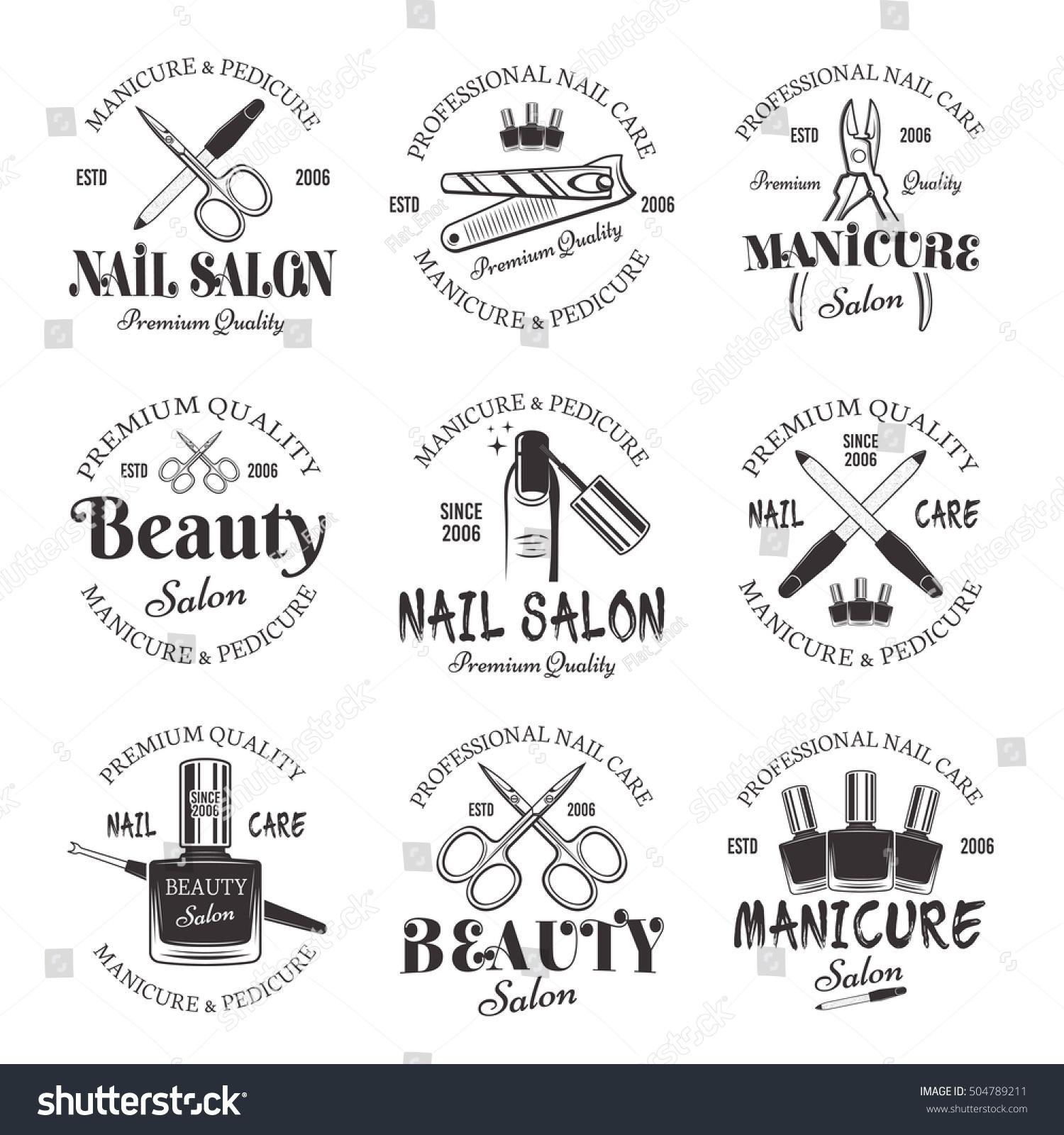 Nails Art Beauty Salon Background Stock Vector: Manicure Pedicure Salon Set Vector Monochrome Stock Vector