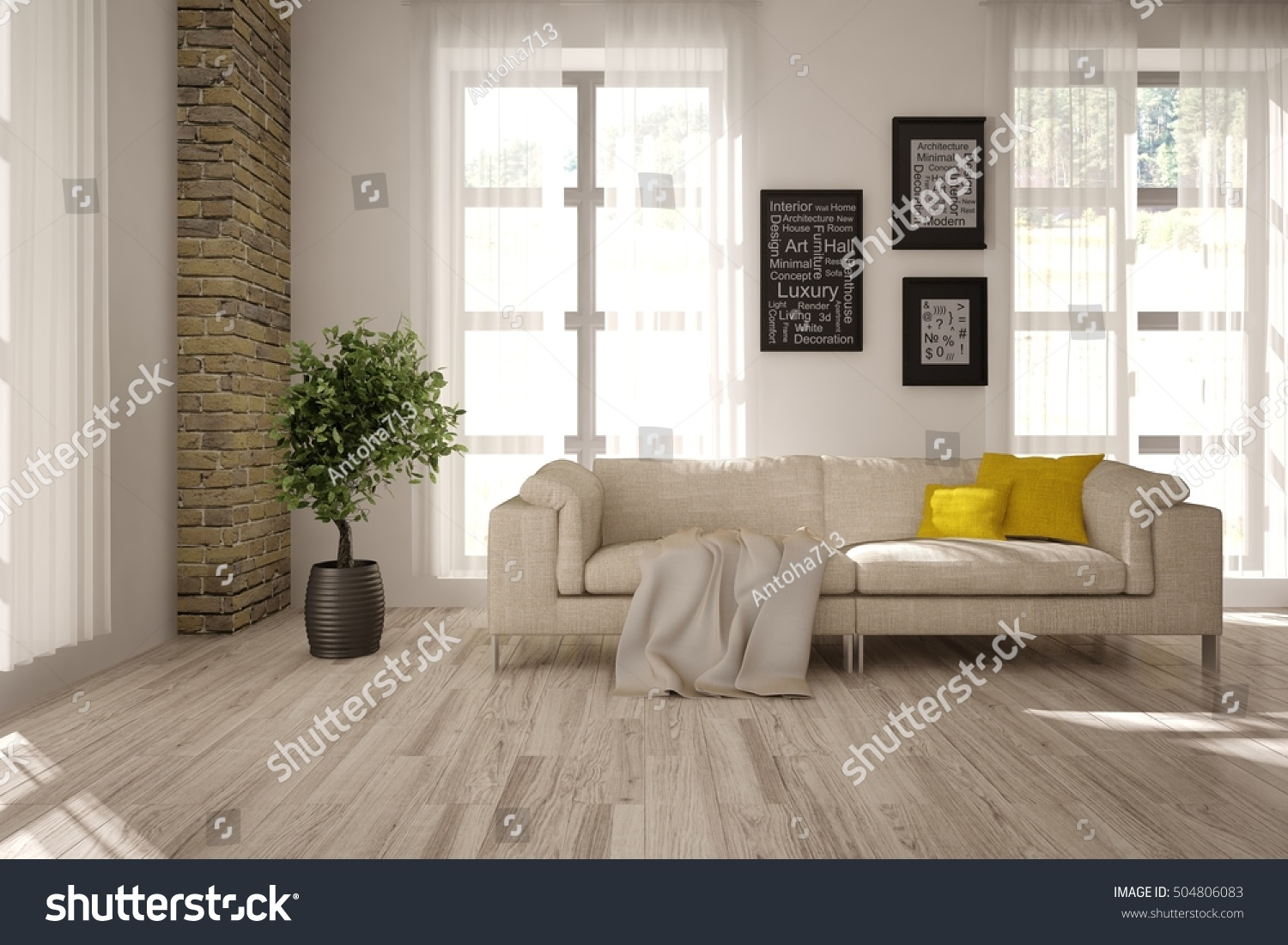 White Interior Design Living Room Scandinavian Stock Illustration 504806083 Shutterstock
