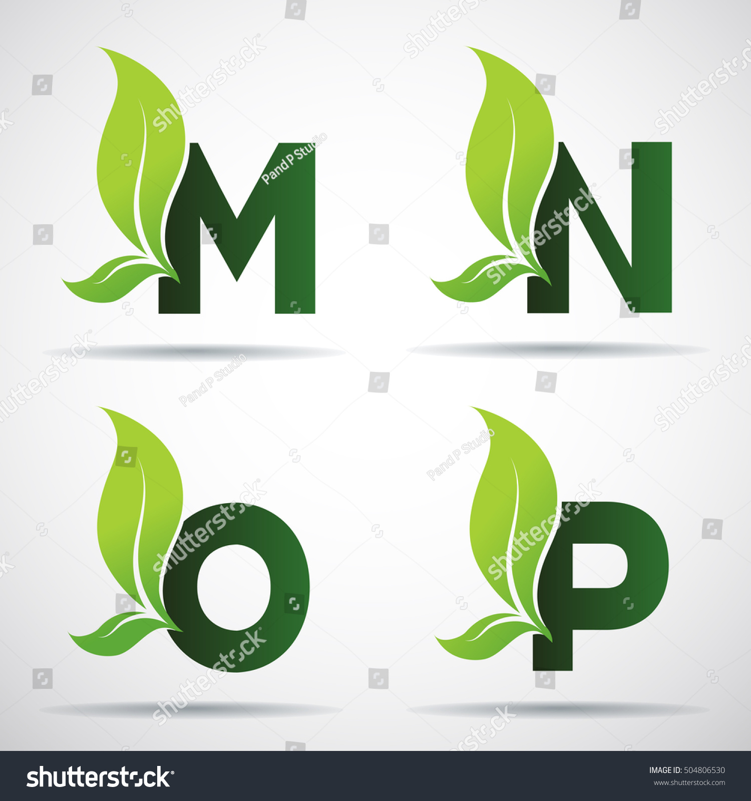 Vector Green Alphabet Set Eco Letters Stock Vector