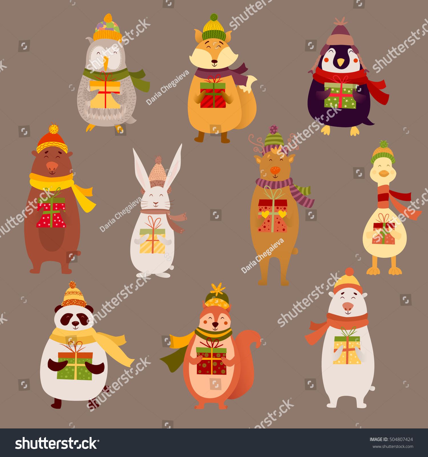 6ce59bc7bc395 Cute Smiling Cartoon Reindeer Owl Penguin Stock Vector (Royalty Free ...