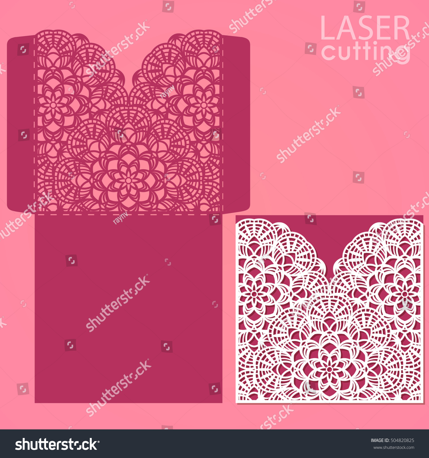 Die laser cut wedding card vector template Invitation envelope – Rom Invitation Card