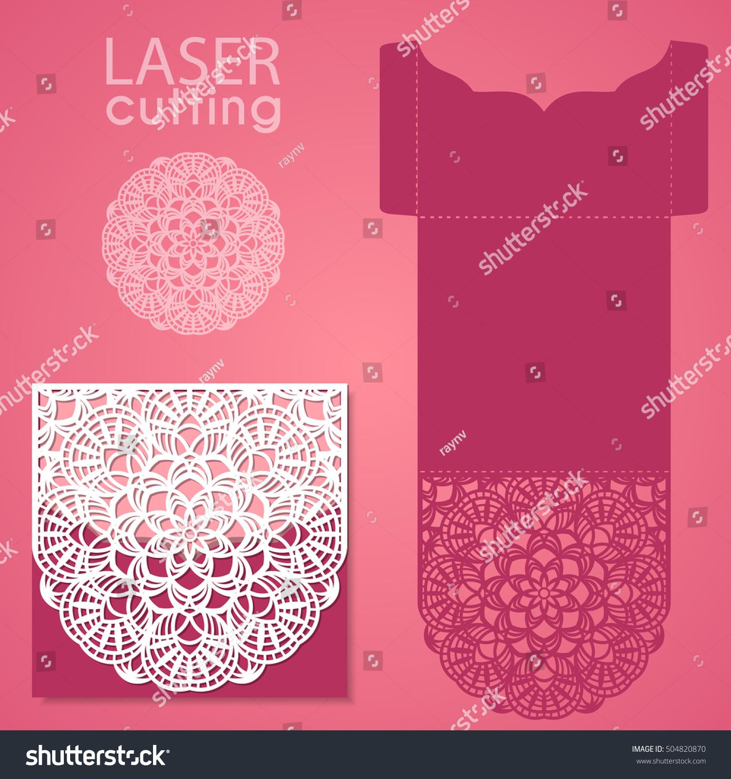 vector die laser cut envelope template stock vector royalty free