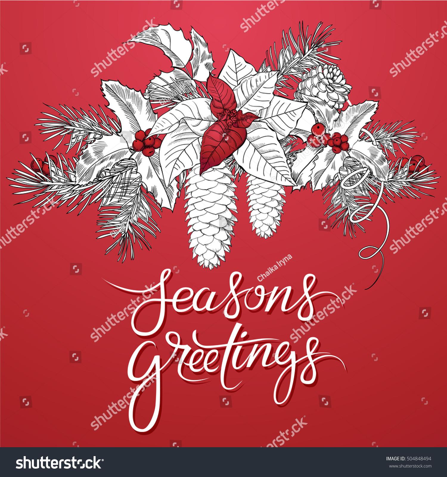 Seasons Greetings Seasonal Vector Hand Drawn Lettering Stock Vector