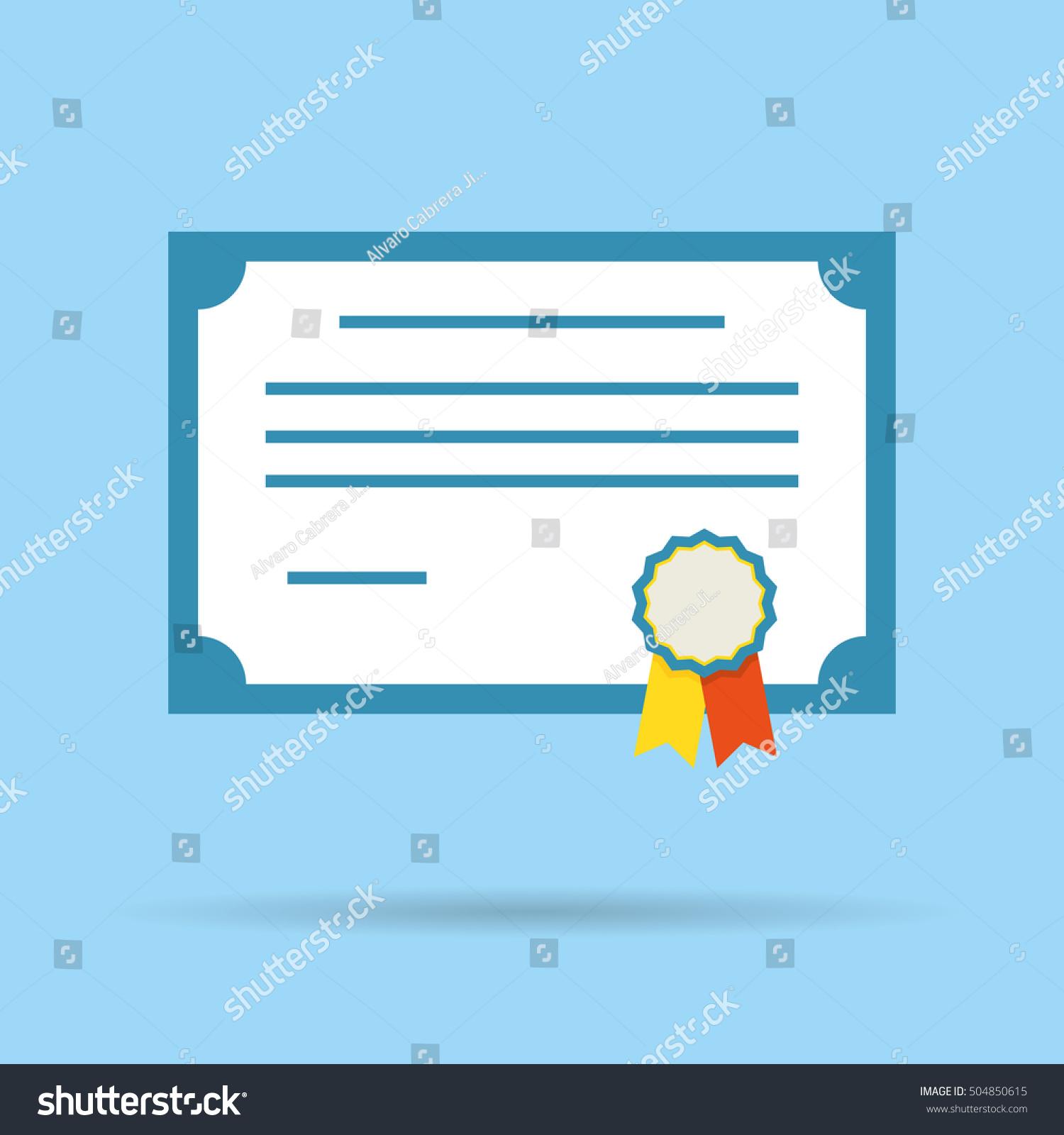 Certificate Vector Diploma Illustration Icon Stock Vector 504850615