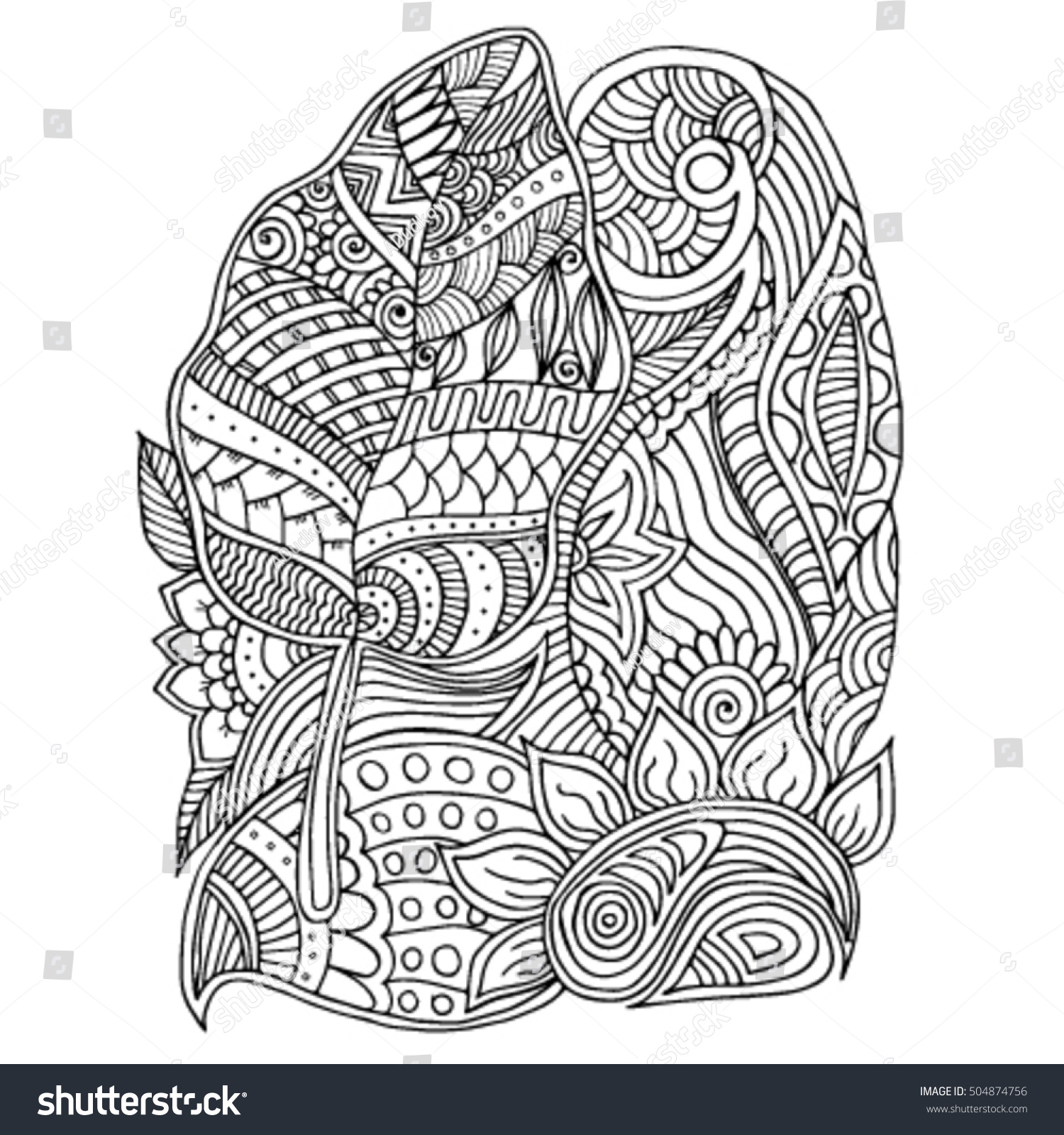 Zentangle Trees Flowers Plants Vector Image Stock Vector Royalty