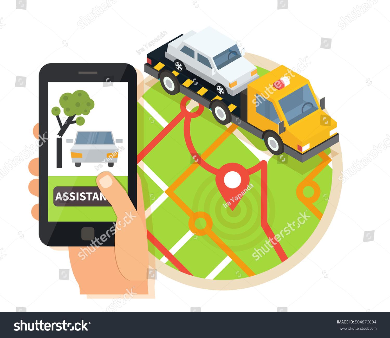 Car towing truck online roadside assistance stock vector for Truck design app