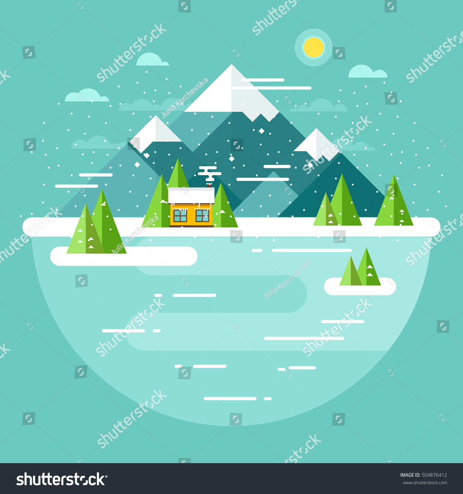 Vector winter landscape mountains illustration flat stock for Flat design pictures