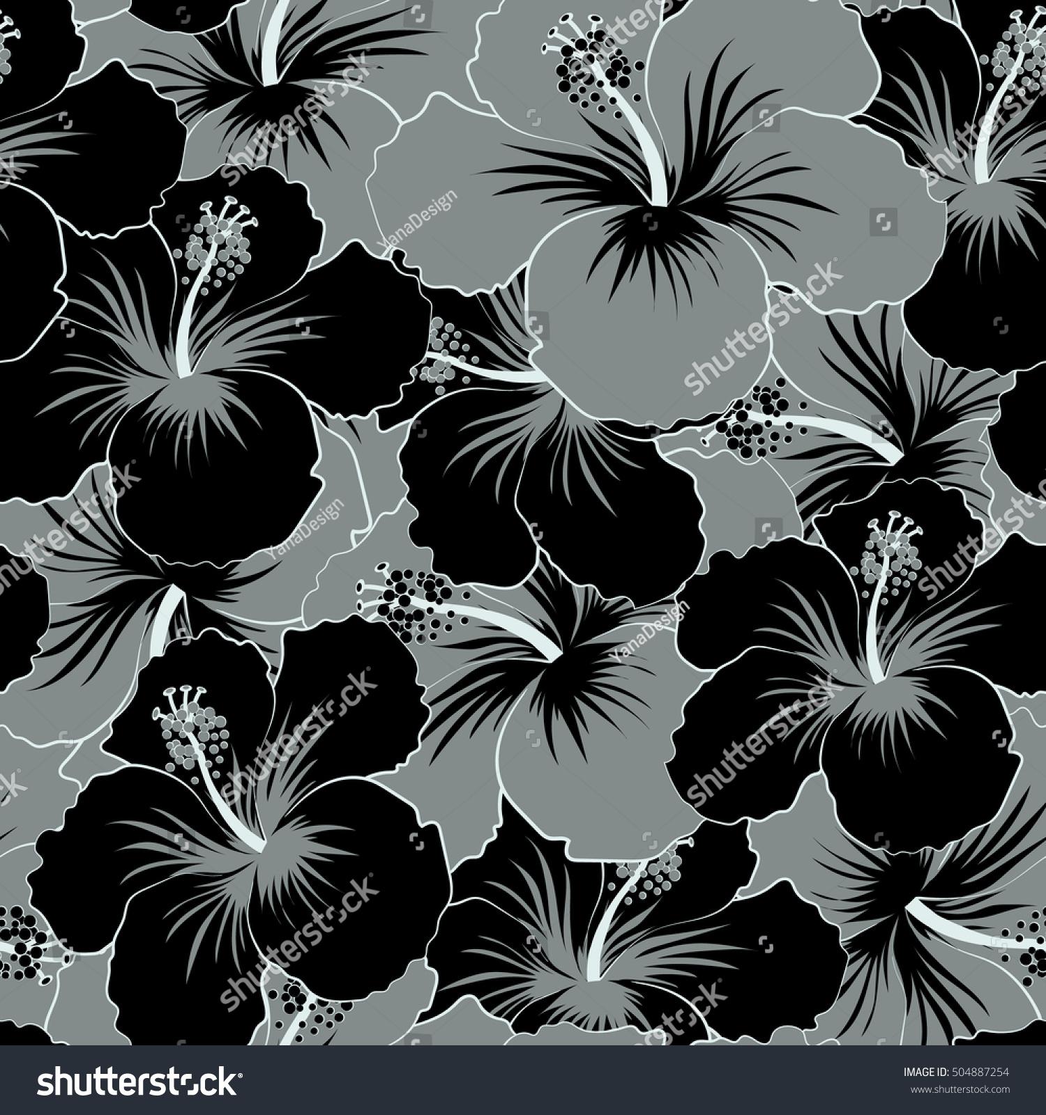 Aloha Hawaiian Shirt Seamless Hibiscus Pattern In Black And Gray