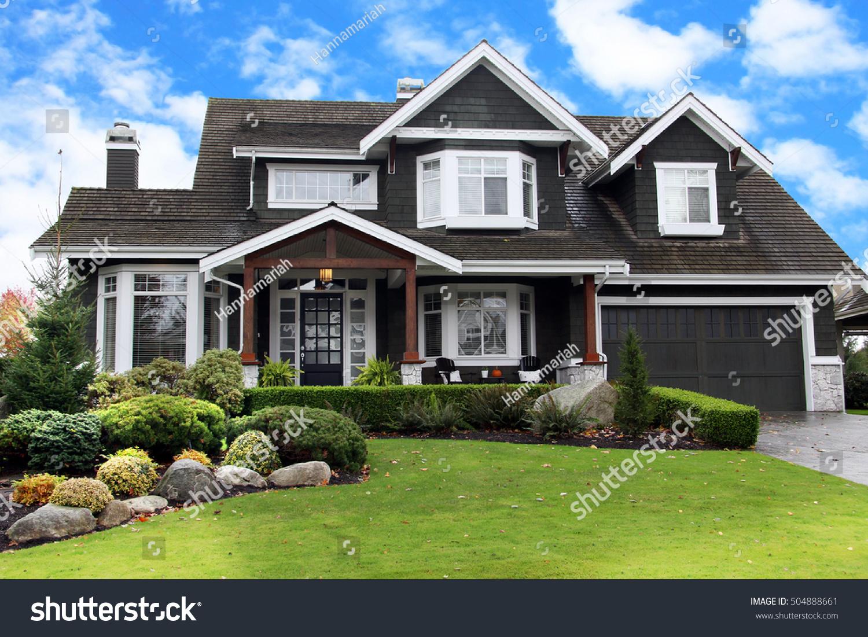 Beautiful Upscale Home Canadian Neighborhood Stock Photo ...