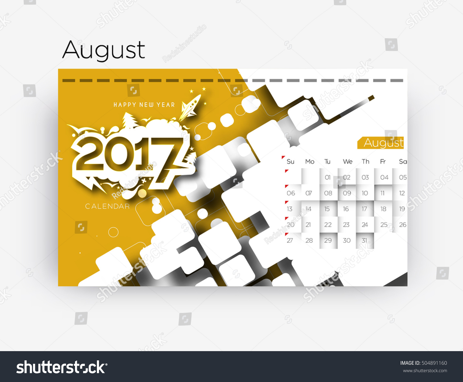 Happy New Year 2017 August Calendar   New Year Holiday Design Elements For  Holiday Cards,