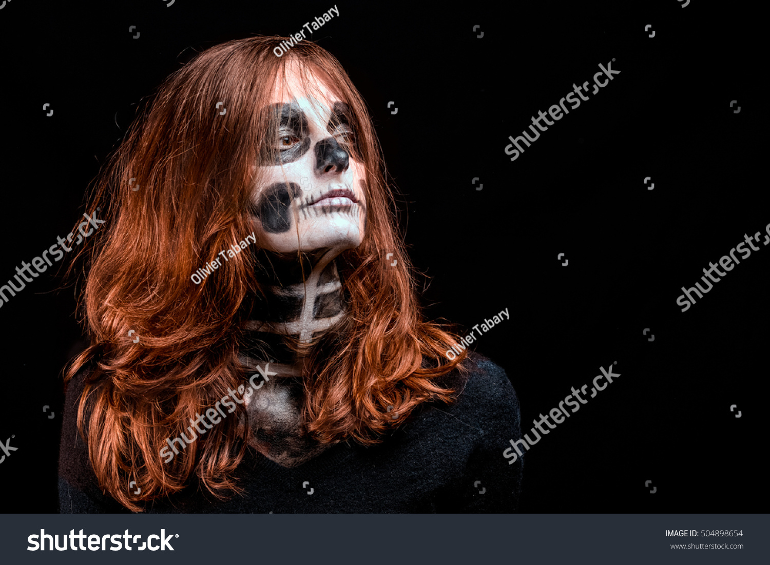 Woman Bright Red Hair Skeleton Makeup Stock Photo Edit Now