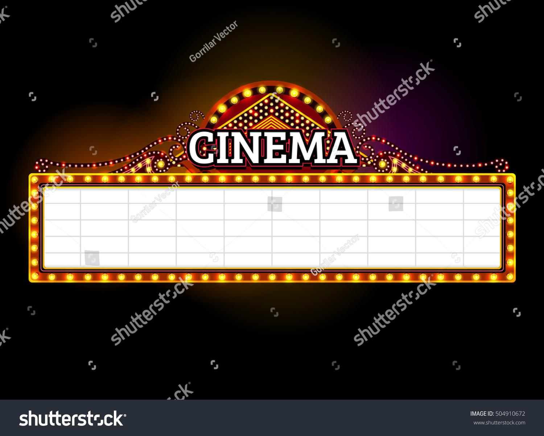 Theater Signcinemalas Vegas Signlight Frameborderneon Stock Vector ...
