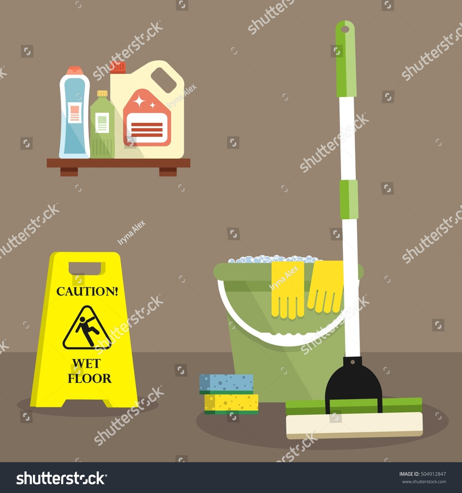 Cleaning time concept there caution wet stock vector for Floor banner