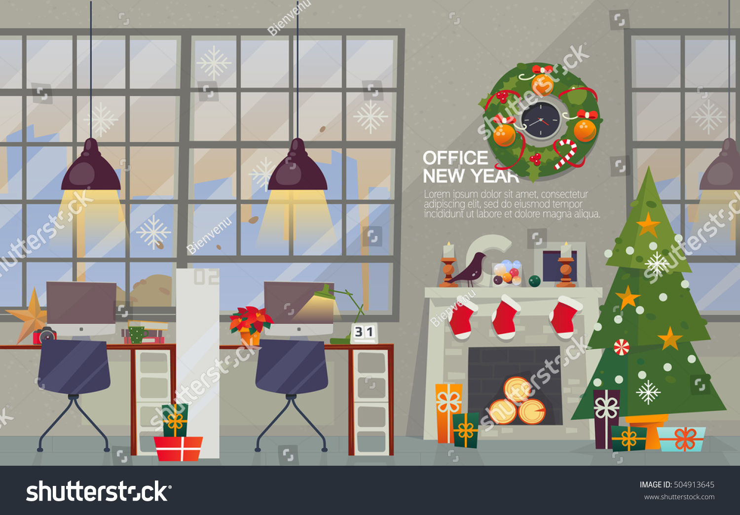 Modern Office Interior Workplace With Decorations For The New Year Vector Flat Style Merry