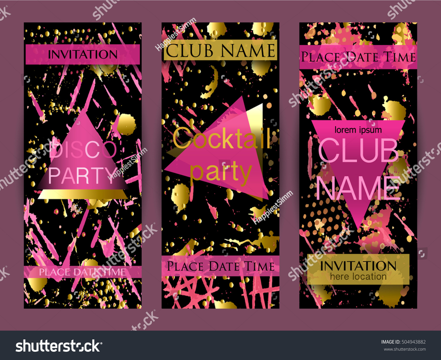 Set Abstract Background Party Invitations Disco Stock Vector ...