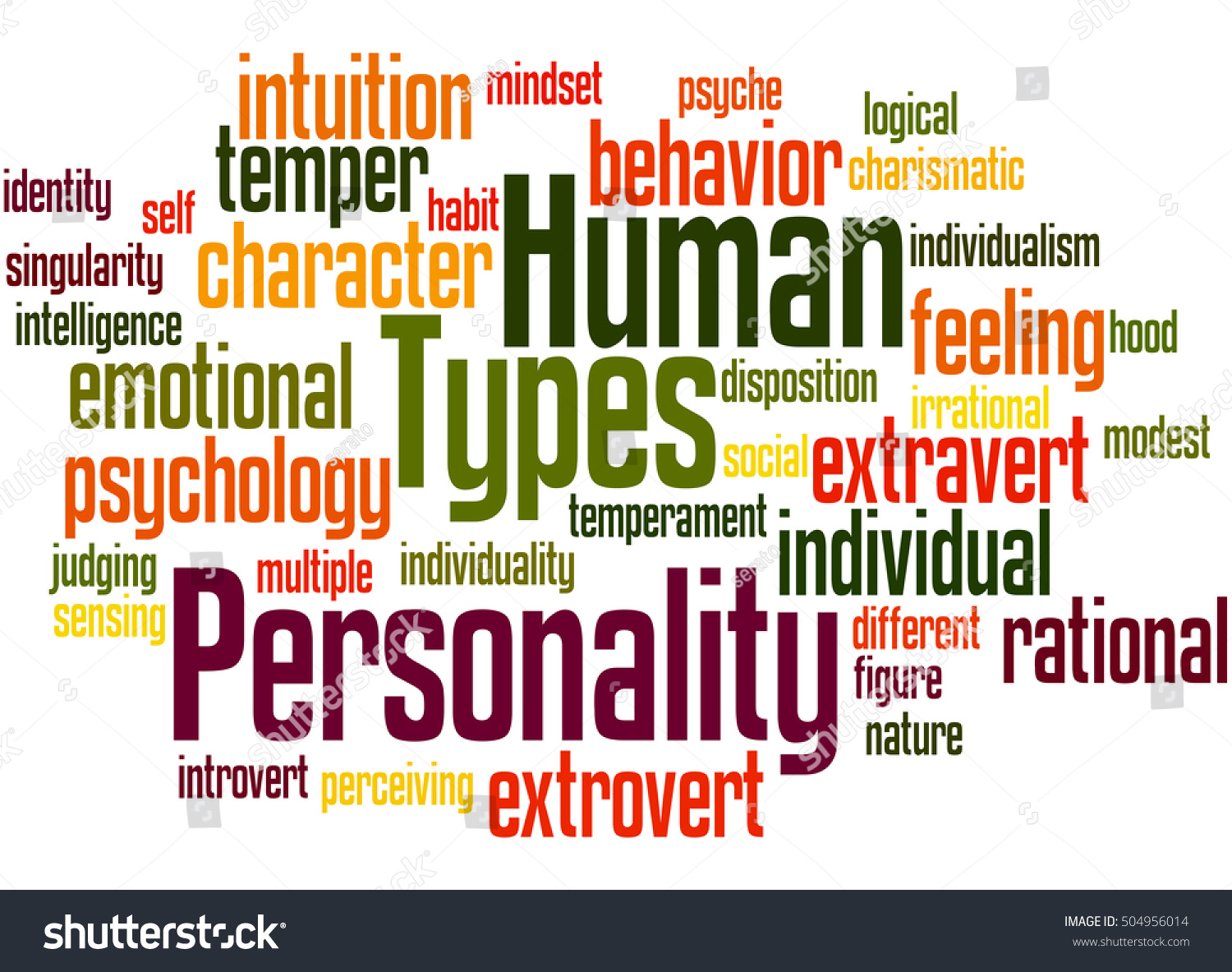 human personality types word cloud conceptのイラスト素材 504956014