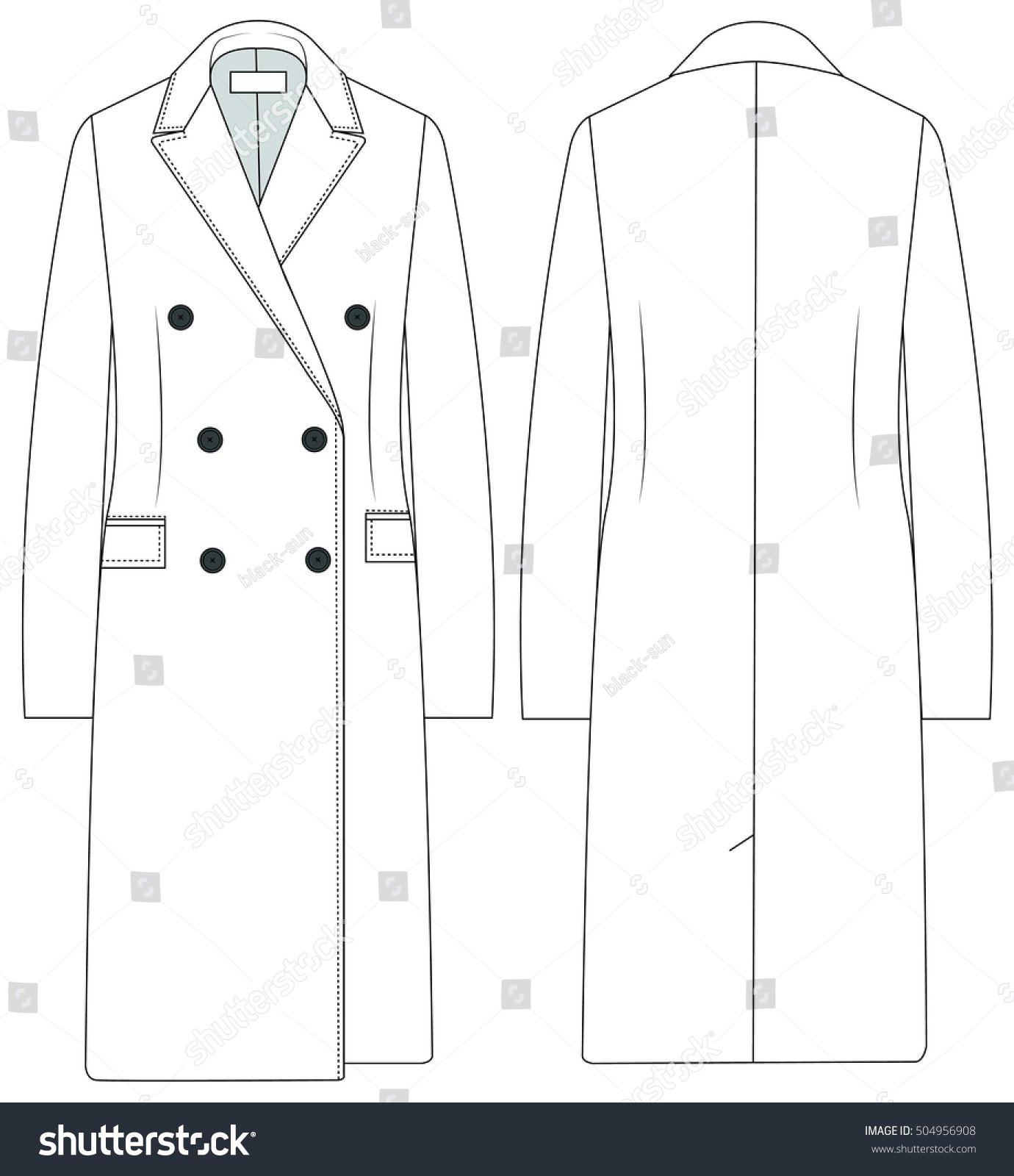 Flat Fashion Template Trench Coat Stock Vector 504956908 ...