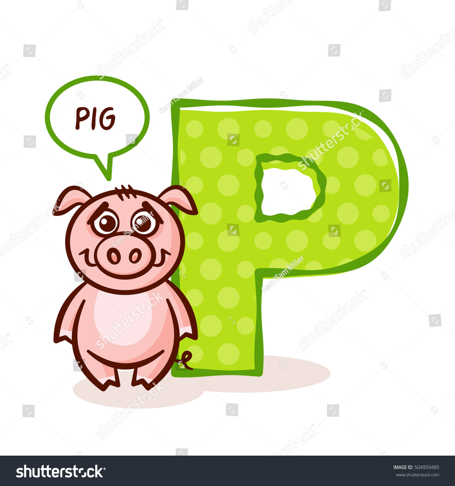 ABC ZOO Alphabet Letter P Pig Stock Vector Royalty Free
