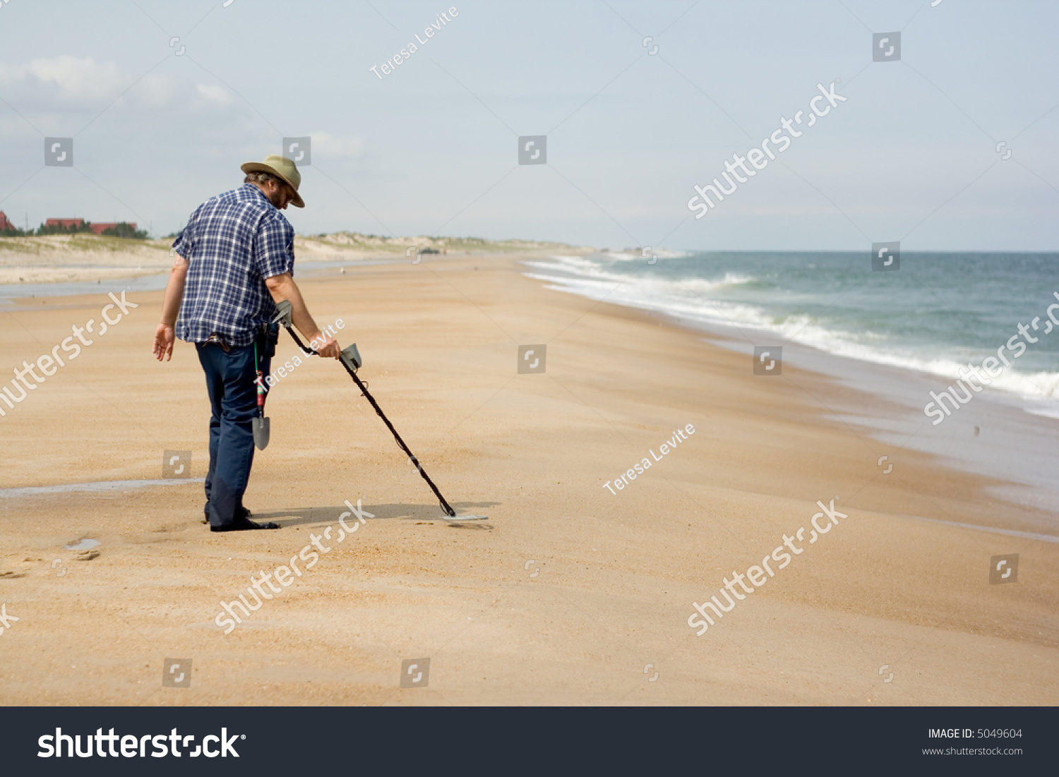 Jew Detector: Photograph Man Using Metal Detector Search Stock Photo