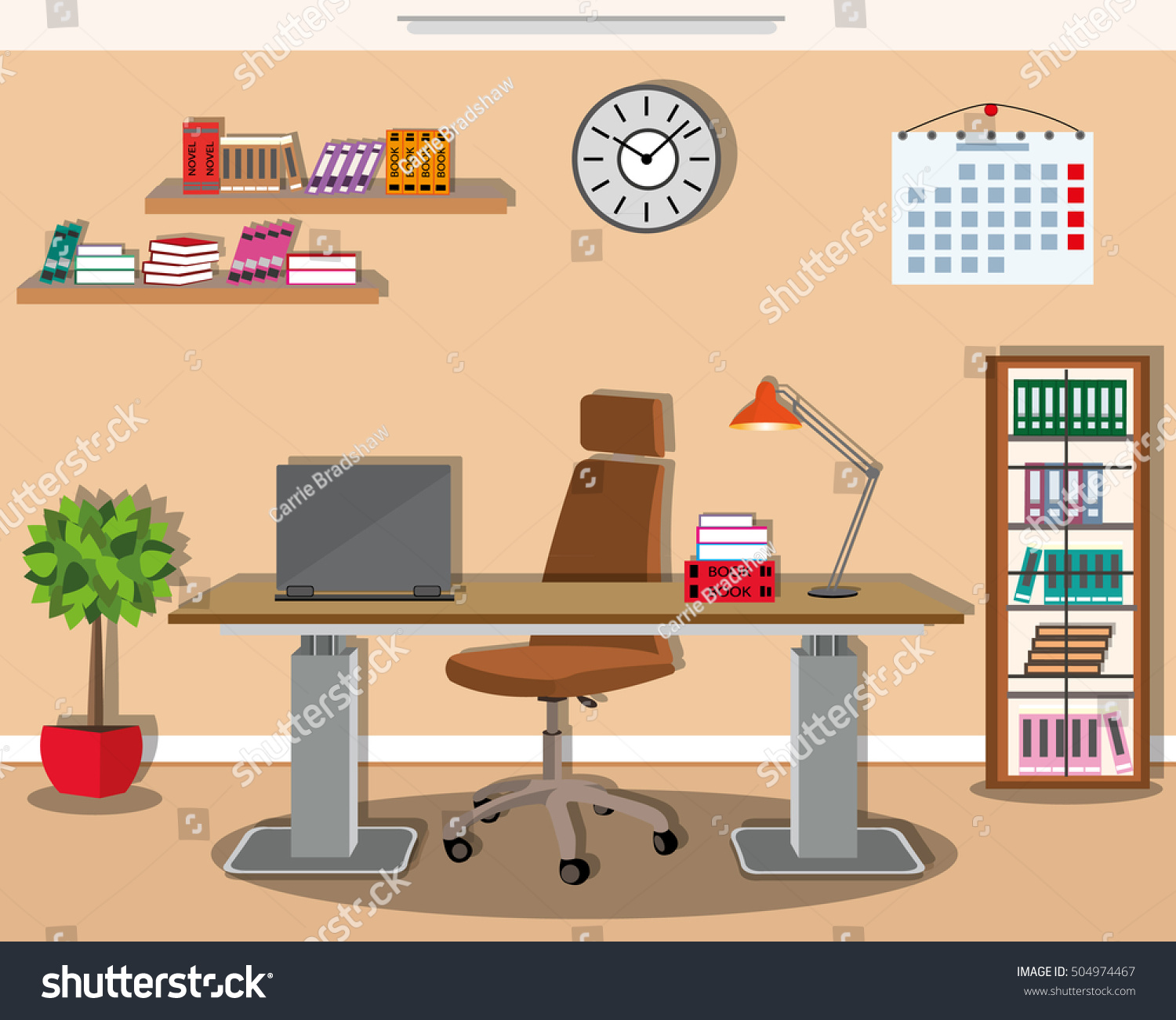 Modern office interior design with stylish furniture  Comfortable working  place   desktop chair. Modern Office Interior Design Stylish Furniture Stock Vector
