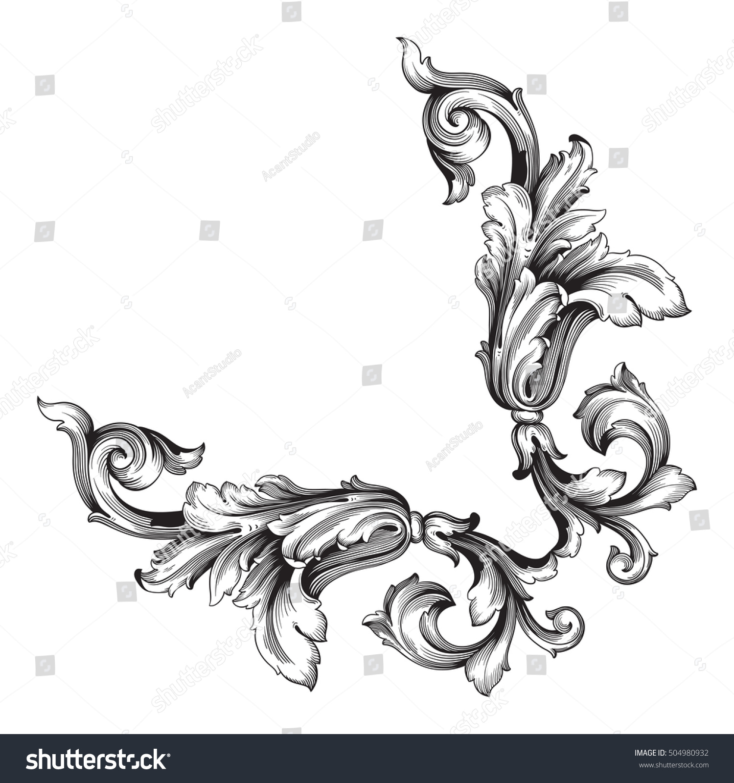Antique Scroll Design: Royalty-free Vintage Baroque Corner Scroll Ornament