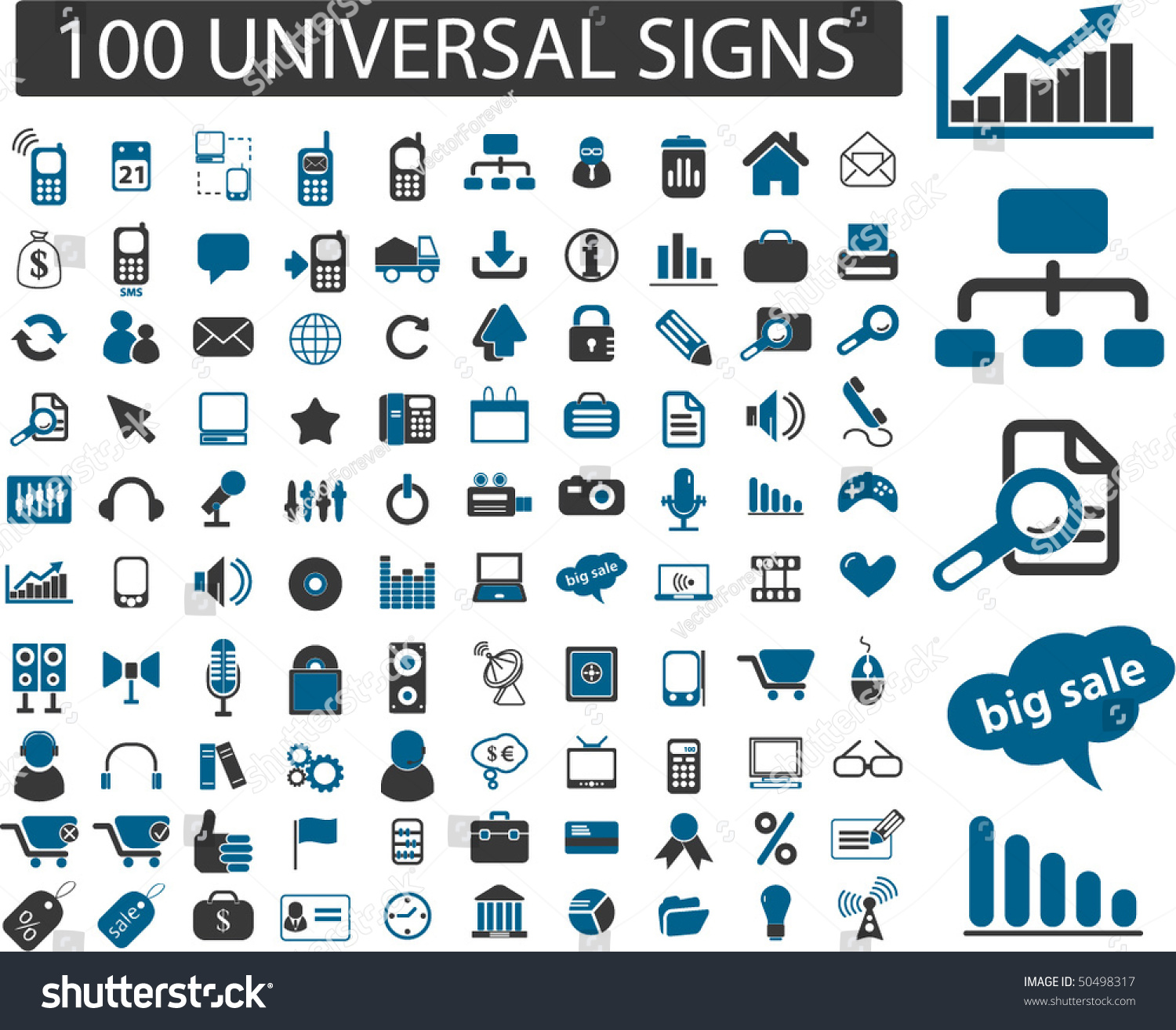 100 Universal Signs Vector Stock Vector 50498317