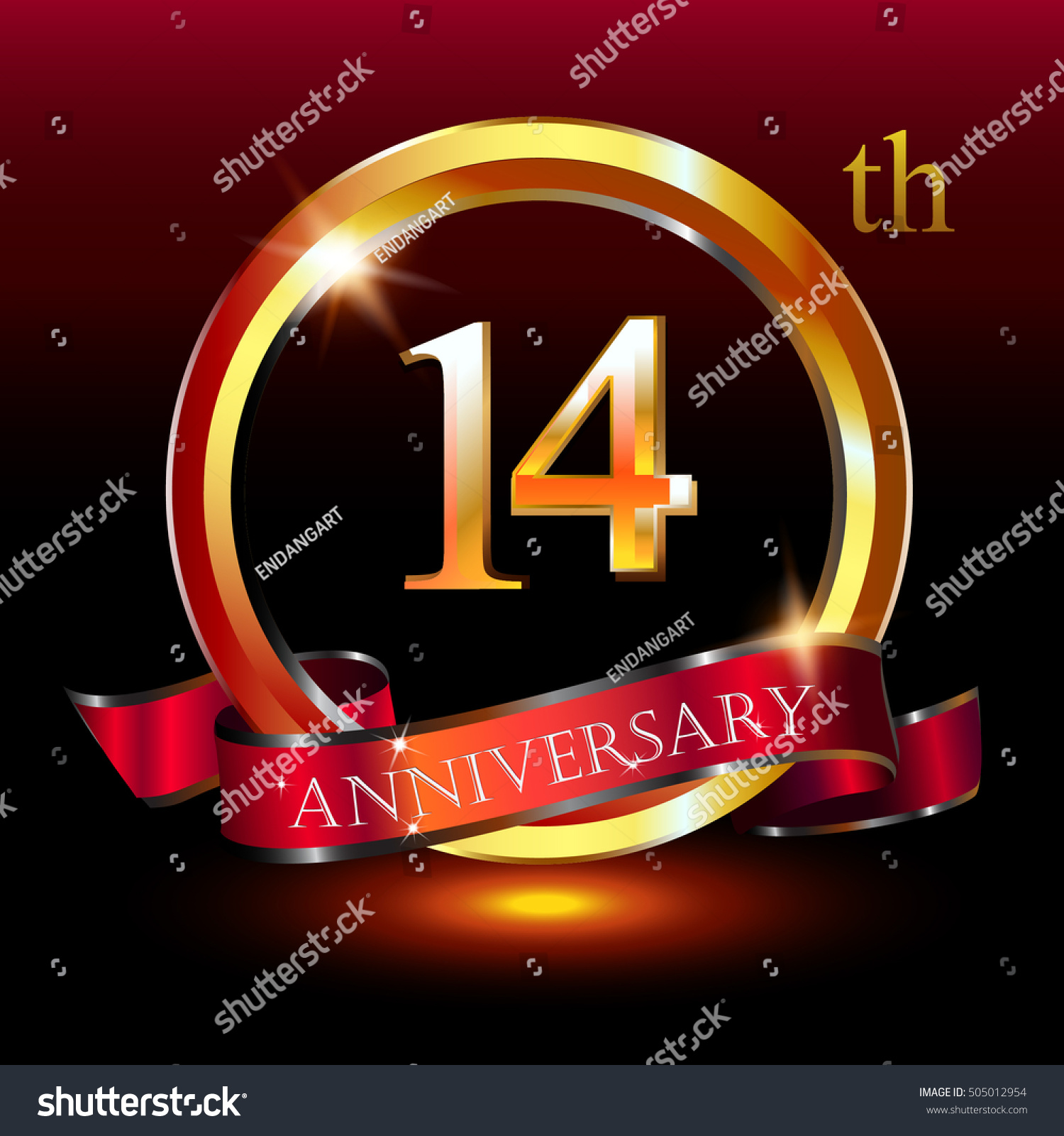 14th Golden Anniversary Logo 14 Years Stock Vector Royalty Free