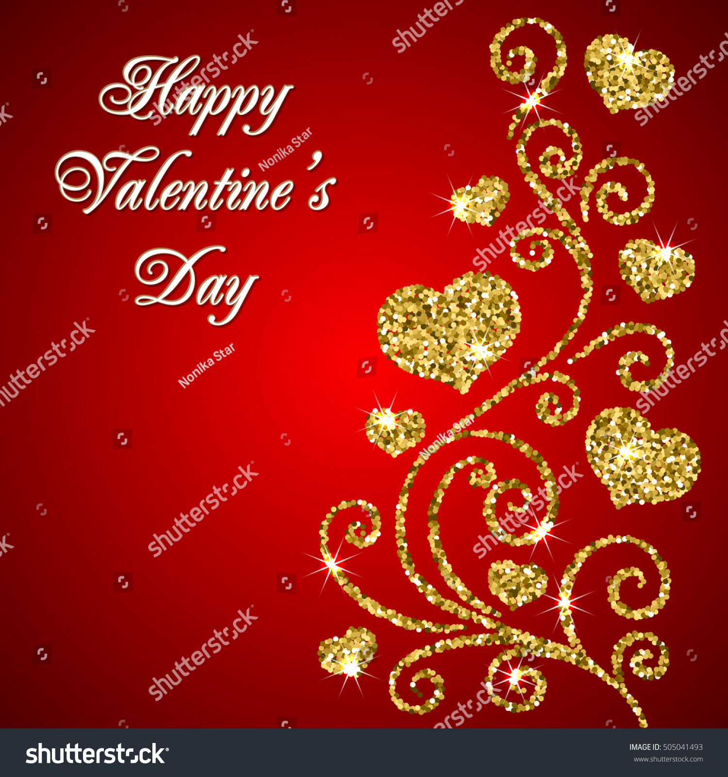 valentines day card glitter ornament happy stock illustration happy valentines day text