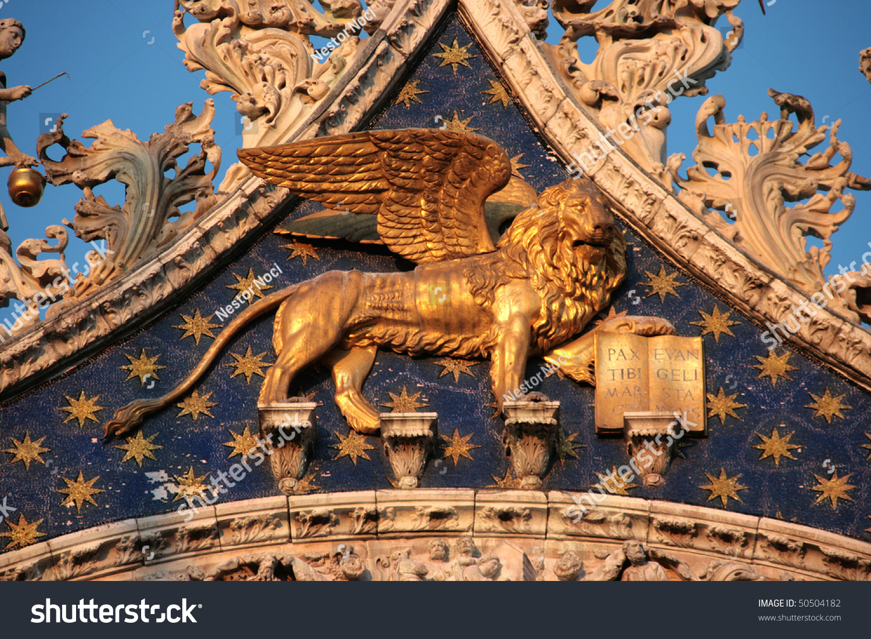 Venezia Winged Golden Lion San Marco Stock Photo (Royalty Free ...